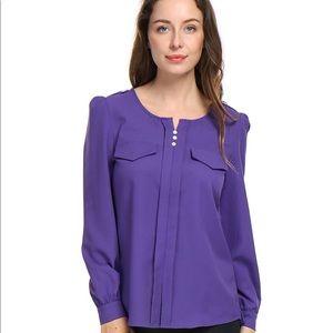 Allegra K Women's Buttons Pockets Blouse Purple